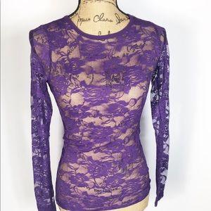 COLOR STORY Women's Purple Lace Long Sleeve Shirt